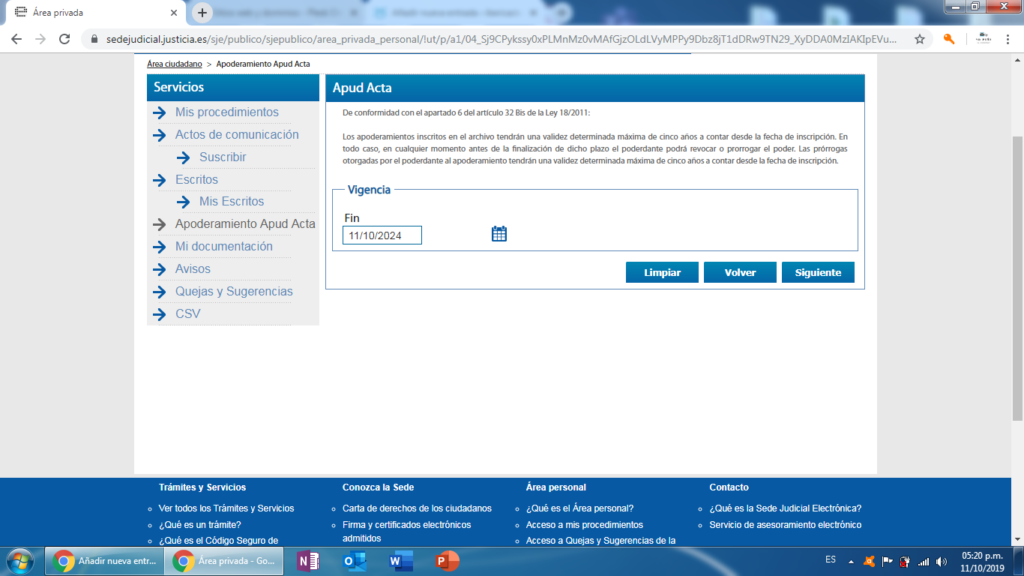 "Poder para pleitos: ""Apud Acta"" online."